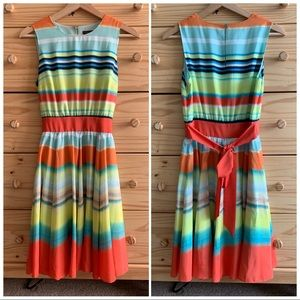Ted Baker Multicolor Striped Fit & Flare Dress 1